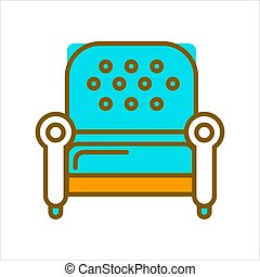 Stylish armchair with blue leather upholstery on legs isolated vector