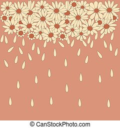 Stylish background from camomile with falling petals