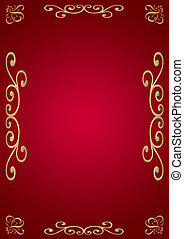 Stylish background (red with illumination) with a gold ornament on edges