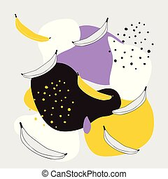 Stylish background with abstract elements polka dots and banana fruits