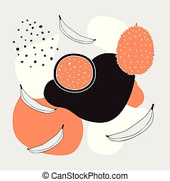 Stylish background with abstract elements polka dots and exotic fruits