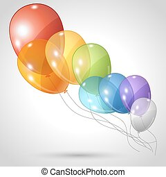 Stylish background with flying balloons.
