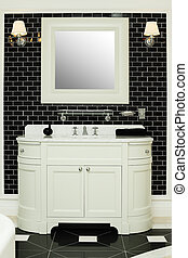Stylish bathroom interior - black and white design