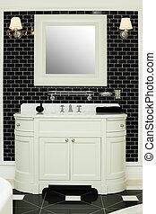 Stylish bathroom interior - black and white design