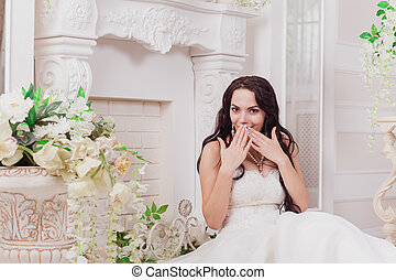 Stylish beautiful happy bride and groom, wedding celebrations, Hotel,