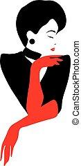 Stylish beautiful model for fashion design. Pin up graphic illustration