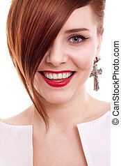 stylish beautiful woman portrait on white background