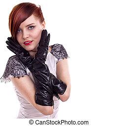 stylish beautiful woman portrait with black gloves on white background