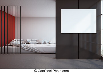 Stylish bedroom with poster