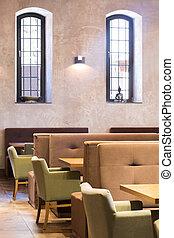 Stylish beige restaurant interior