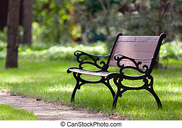 Stylish bench in park - Stylish bench in summer park