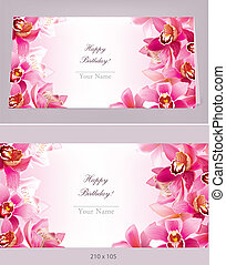Stylish birthday horizontal card with orchid