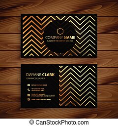 stylish black and golden zigzag shapes business card design
