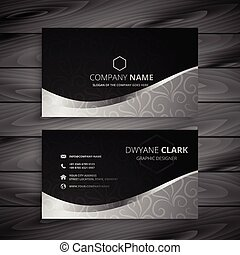 stylish black and gray wave business card design