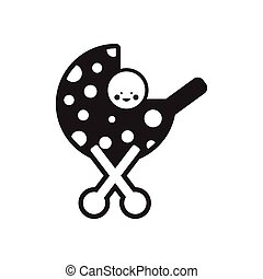 stylish black and white icon baby in stroller