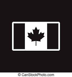 stylish black and white icon Canadian flag