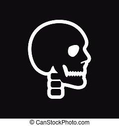 stylish black and white icon human skull