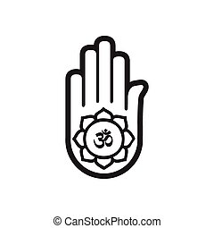 stylish black and white icon Indian om sign on palm