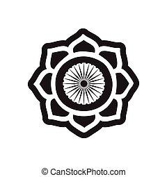 stylish black and white icon Indian symbol