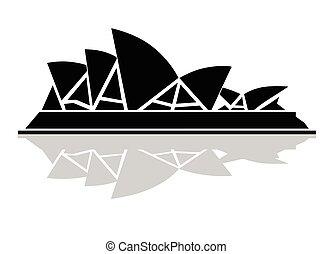 stylish black and white icon Sydney Opera House