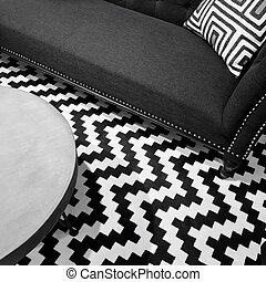 Stylish black and white interior