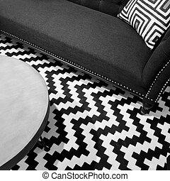 Stylish black and white interior