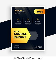 stylish black and yellow annual report flyer template design