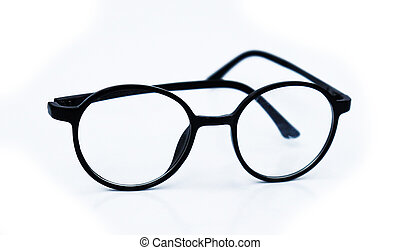 Stylish Black frame glasses isolated on white background