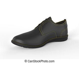Stylish black oxford shoe with yellow stitching - studio shot