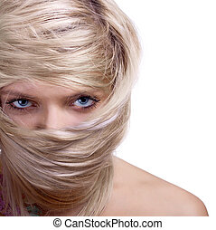 stylish blonde woman close-up hair mask portrait