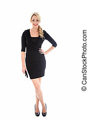 Stylish blonde woman in black dress - A full length studio ...