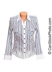 Wonderful, modern white blouse isolated on a white background.