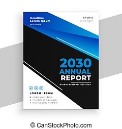 stylish blue and black business annual report brochure design