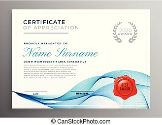 stylish blue certificate of appreciation template
