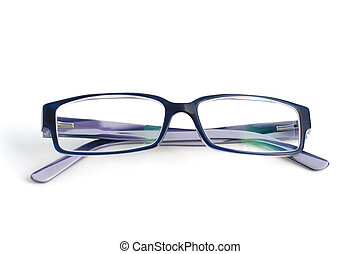 Stylish blue glasses with diopter lenses isolated on white background