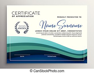 stylish blue wave certificate of appreciation template