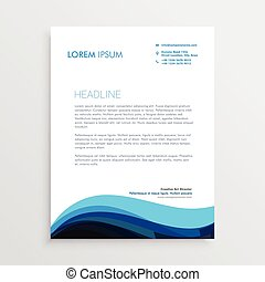 stylish blue wave letterhead design for your business