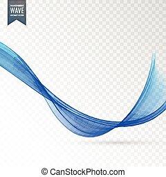 stylish blue wave on transparent background