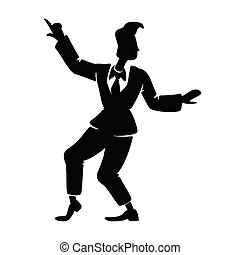 Stylish boogie woogie male dancer black silhouette vector illustration. Person in rock n roll pose. Rockabilly style guy on dance floor 2d cartoon character shape for commercial, animation, printing