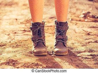 Stylish Boots, Close up view of woman wearing stylish boots...