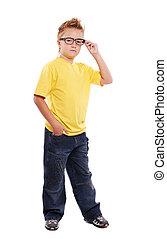 Stylish boy in glasses full length