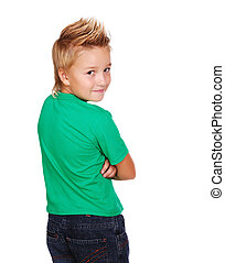 Stylish boy in green top looking back
