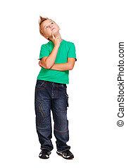 Stylish boy in green tshirt  full length