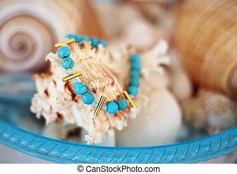 stylish bracelet with turquoise semi precious stones -...