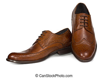 Stylish brown leather mens shoes - Pair of stylish brown ...