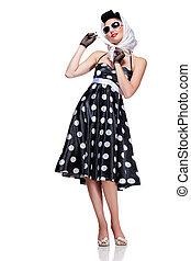 stylish brunette - young beautiful caucasian woman posing, ...