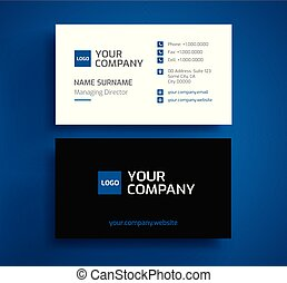 Stylish business card template vector - minimalist blue, black, and white color