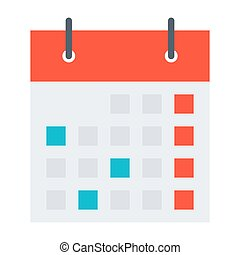 Vector illustration with stylish calendar symbol in flat style.