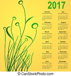 Stylish calendar with flowers