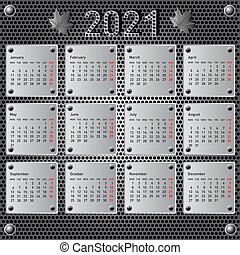 Stylish calendar with metallic effect for 2021